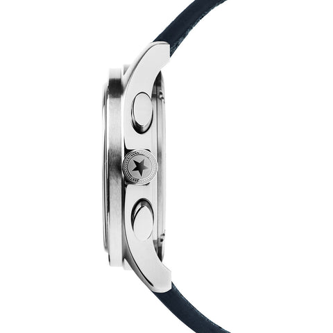 Jack Mason Navy/White Racing Chonograph Stainless Steel Watch | Navy Leather Strap JM-R102-125