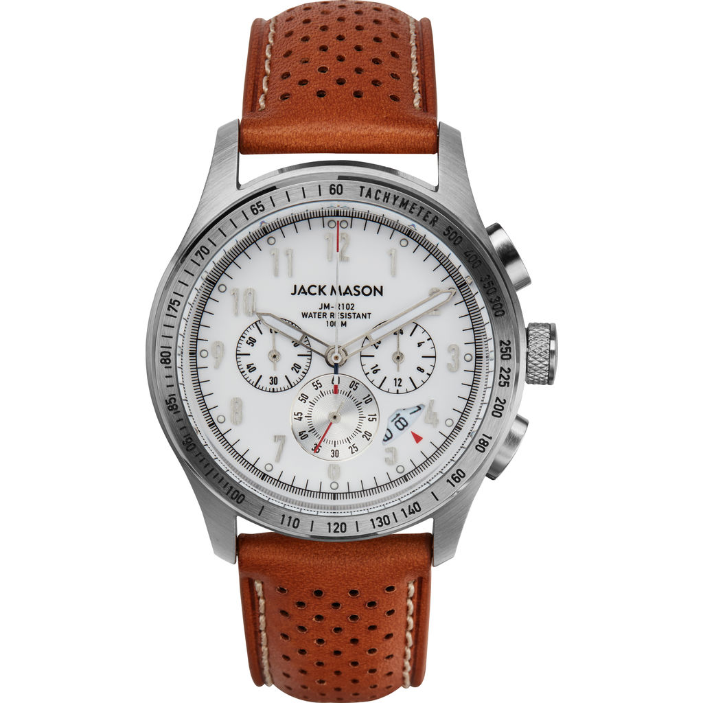Jack Mason White Racing Chronograph Stainless Steel Watch 42mm | Tan Leather JM-R102-221
