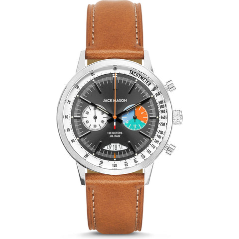 Jack Mason Racing Chronograph Watch | Green/Brown Leather JM-R402-013