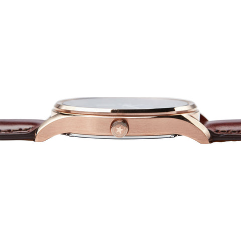 Jack Mason Gray Slim Multifunction Rose Gold Watch | Brown Leather JM-S104-121