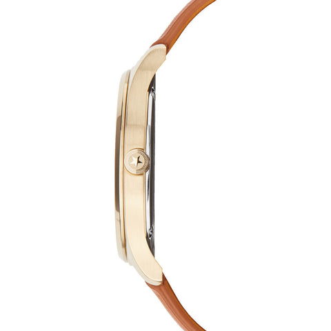 Jack Mason Gold Slim Stainless Steel 2-Hand Watch 38mm | Tan Leather JM-S401-004