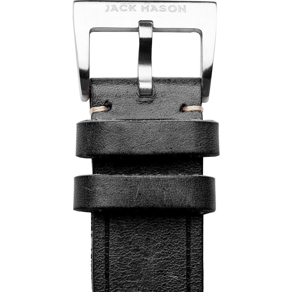 Jack Mason Aviator Watch Strap | Black Leather JMA-LS-001