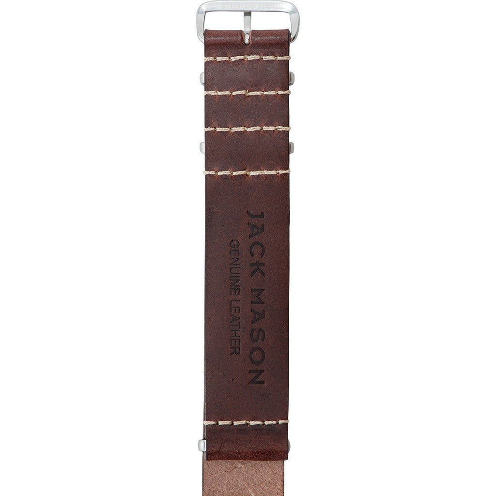 Jack Mason Aviator Watch Strap | Dark Brown Leather Nato JMA-LS-004