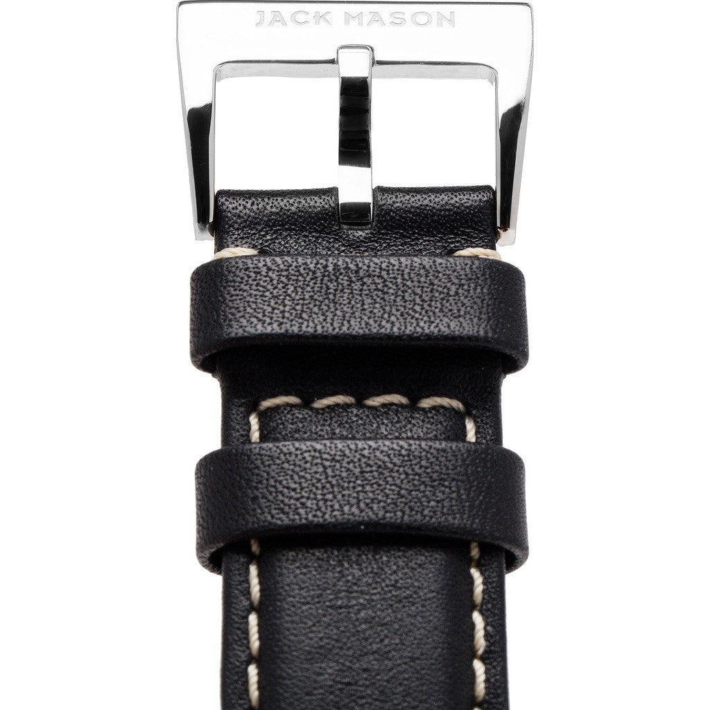 Jack Mason Nautical Watch Strap | Black Leather JMN-LS-001