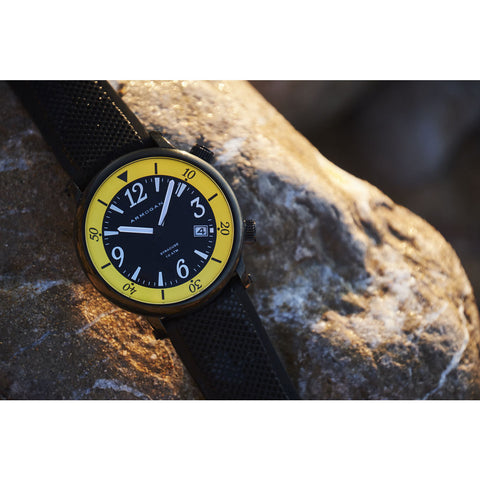Armogan Syracuse N24 Diving Watch | Yellow/Black Steel SYB22N7Y2