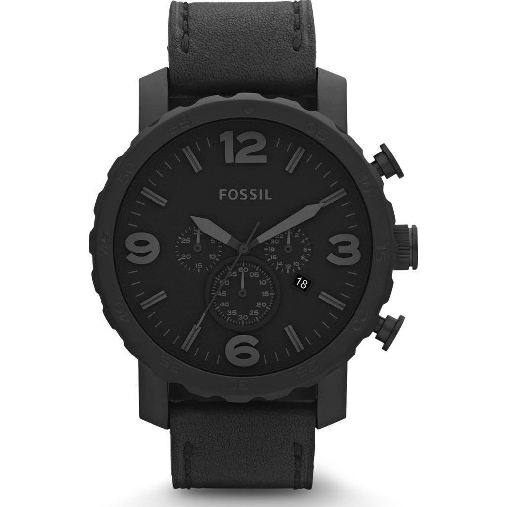 FOSSIL Nate Chronograph Watch | Leather JR1354
