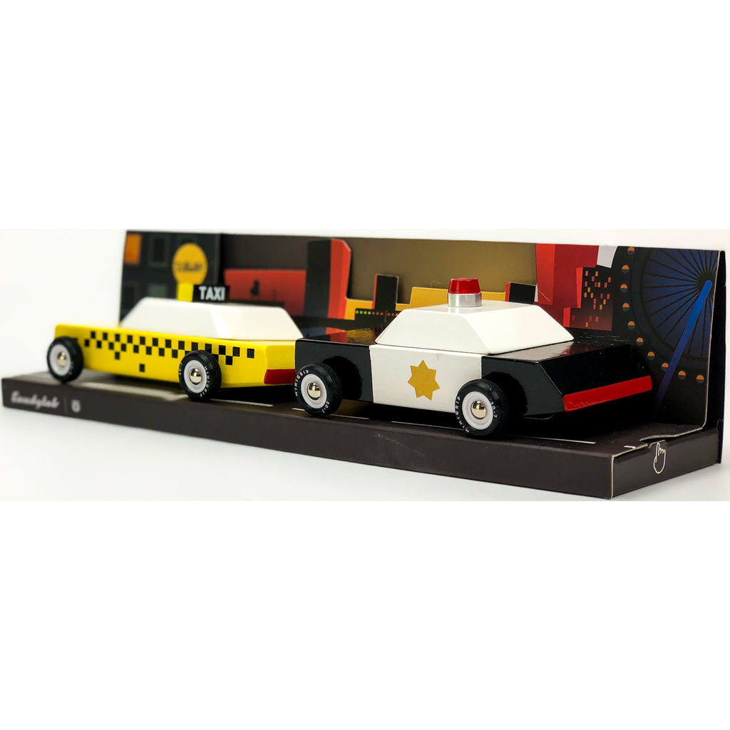 Candylab Junior City Scrape Set Wooden Toy | Taxi/Police MN02