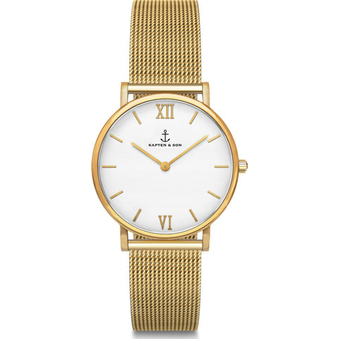 Kapten & Son Joy Gold Mesh Watch | White