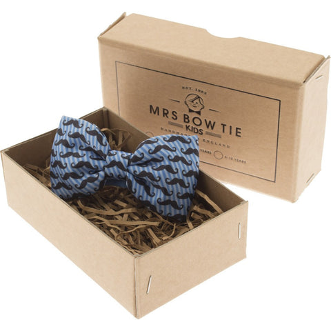 Mrs Bow Tie Moustaches Junior Ready-Tied Bow Tie | Blue Stripe 0-5 Years KIDS134