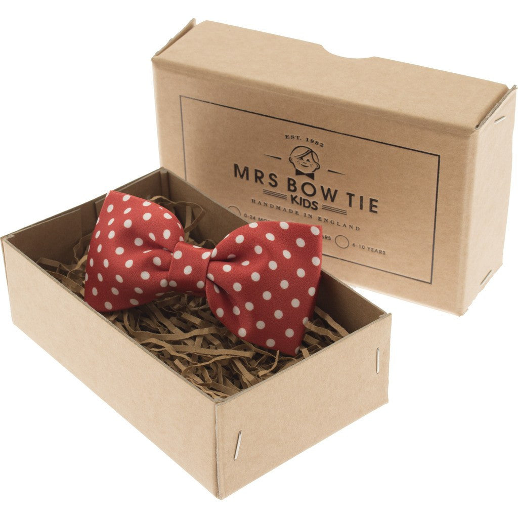 Mrs Bow Tie Dotty Junior Ready-Tied Bow Tie | Red 2-5 Years KIDS143