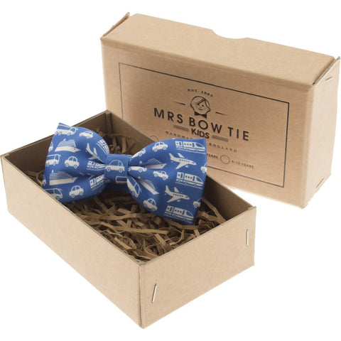 Mrs Bow Tie Planes, Trains & Motors Junior Ready-Tied Bow Tie | Blue 2-5 Years KIDS147
