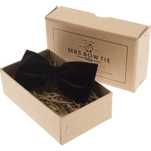 Mrs Bow Tie Velvet Junior Ready-Tied Bow Tie | Black 0-10 Years KIDS189