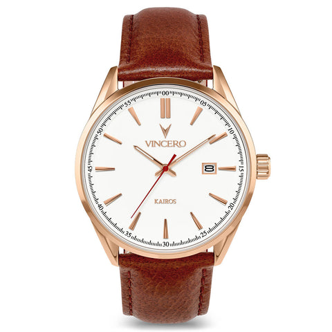 Vincero Men's Kairos Quartz Rose Gold Watch | Mahogany Leather Strap WhiR-Bro-K28