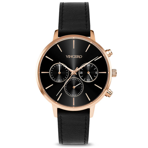 Vincero Women's Kleio Chronograph Rose/Black Sunray Watch | Leather Strap Bla-Rg-L19