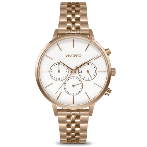Vincero Women's Kleio Chronograph Rose/Satin Watch | Metal Strap Whi-RgM-L15