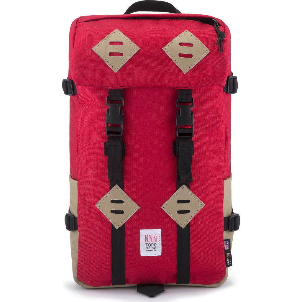 Topo Designs Klettersack Red Khaki Leather TDKSS18RD KHLT - Sportique 15dbeb05ebb74