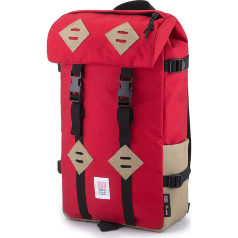Topo Designs Klettersack Backpack | Red/Khaki Leather