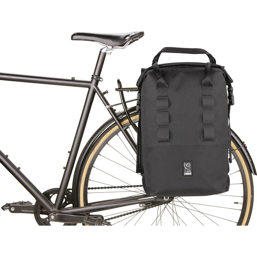Chrome Saddle Bag Rolltop Pannier 20 | Black