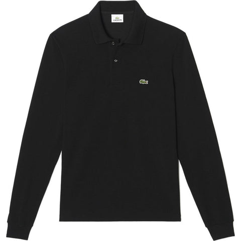 Lacoste Long Sleeve Chine Pique Men's Polo Shirt | Black