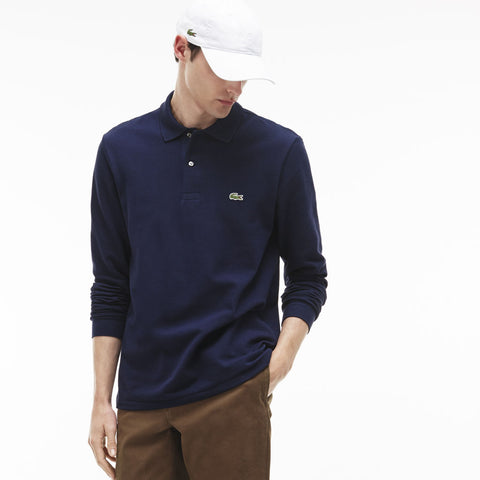 Lacoste Long Sleeve Chine Pique Men's Polo Shirt | Navy Blue