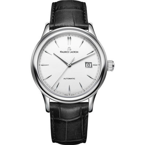 Maurice Lacroix Les Classiques Date 40mm Watch | Silver/Black Leather LC6098-SS001-130-1