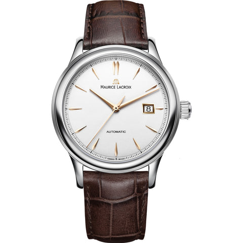 Maurice Lacroix Les Classiques Date 40mm Watch | Silver/Brown Leather LC6098-SS001-131-2