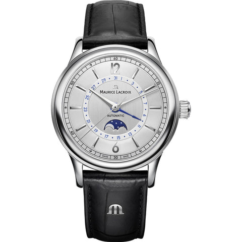 Maurice Lacroix Les Classiques Moonphase 40mm Watch | Grey/Black Leather LC6168-SS001-120-1