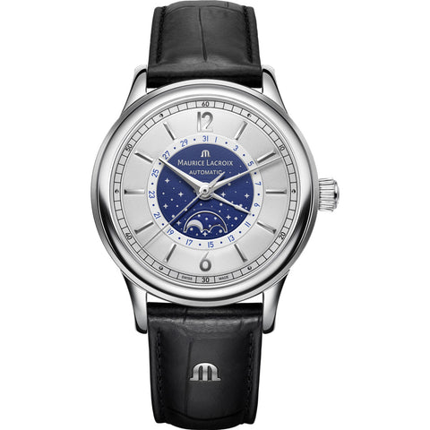 Maurice Lacroix Les Classiques Moonphase 40mm Watch | Blue/Black Leather LC6168-SS001-122-1