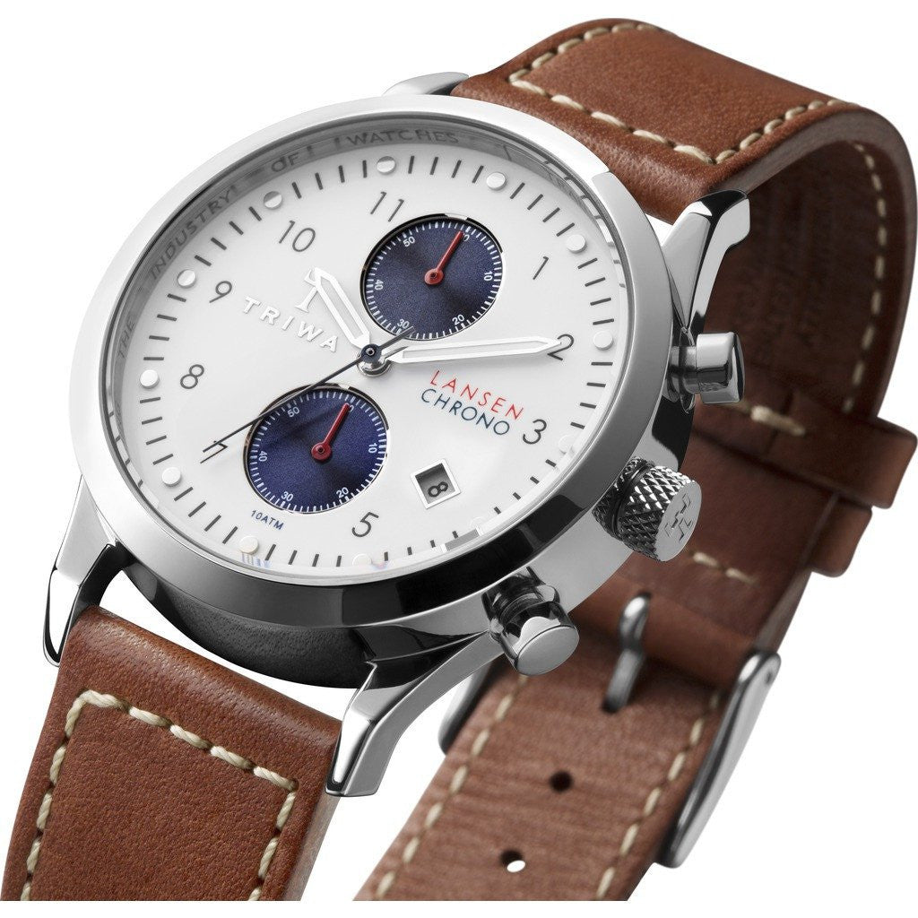 Triwa Duke Lansen Chrono Watch | Brown Sewn Classic LCST113SC010215
