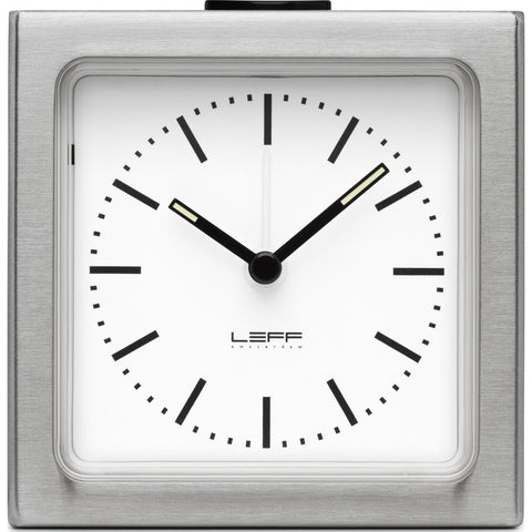 LEFF Amsterdam Block Wall/Desk Alarm Clock | Stainless Steel/White Index