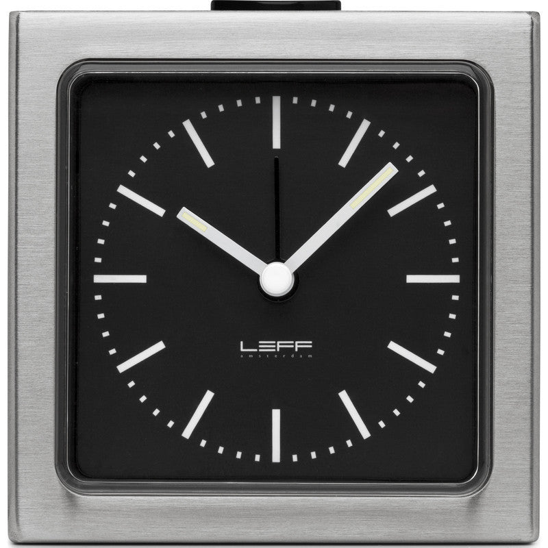 LEFF Amsterdam Block Wall/Desk Alarm Clock | Stainless Steel/Black Index