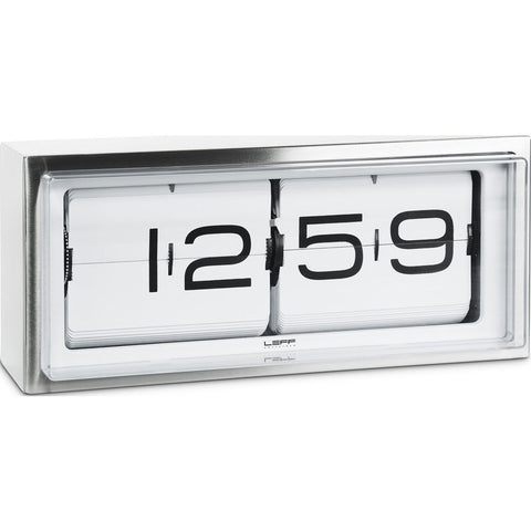 LEFF Amsterdam Brick Wall/Desk Clock | Stainless Steel/White