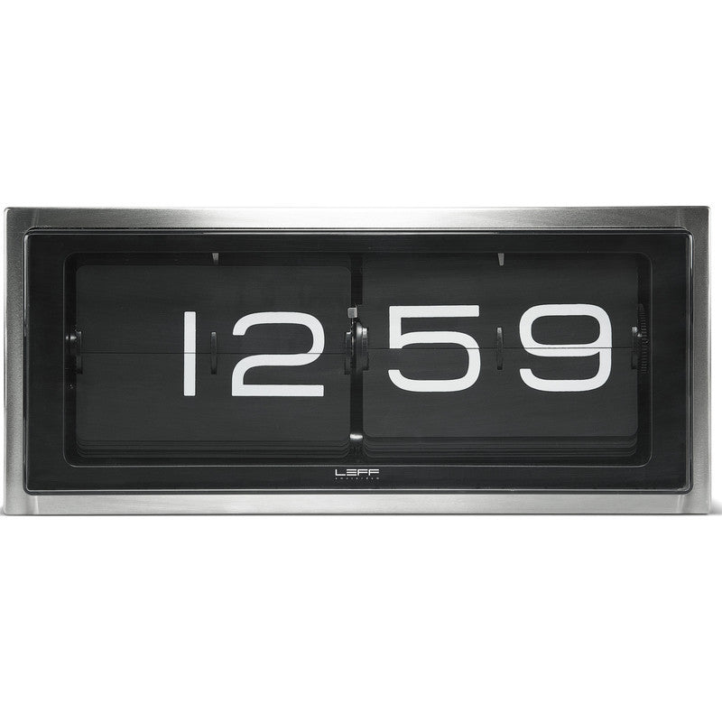 LEFF Amsterdam Brick Wall/Desk Clock | Stainless Steel/Black