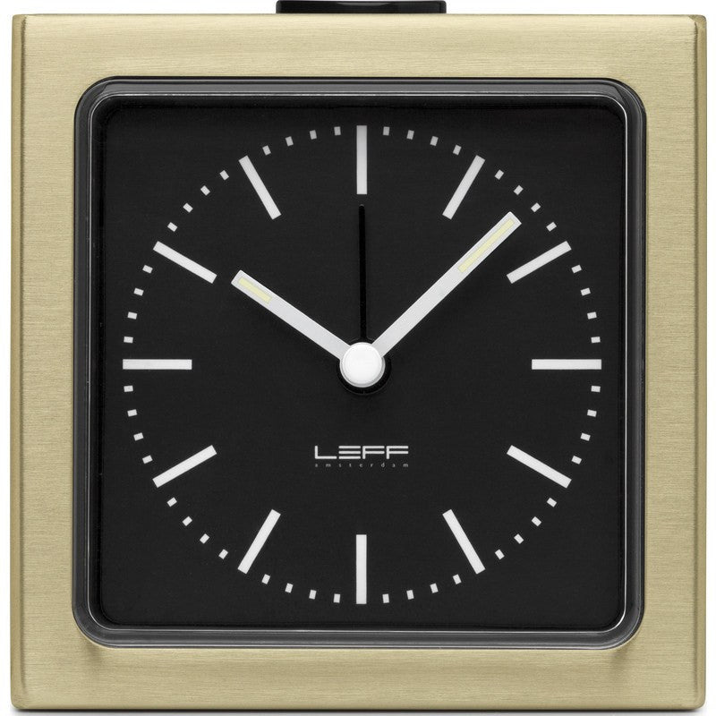 LEFF amsterdam Block Alarm Clock | Brass/Black Index