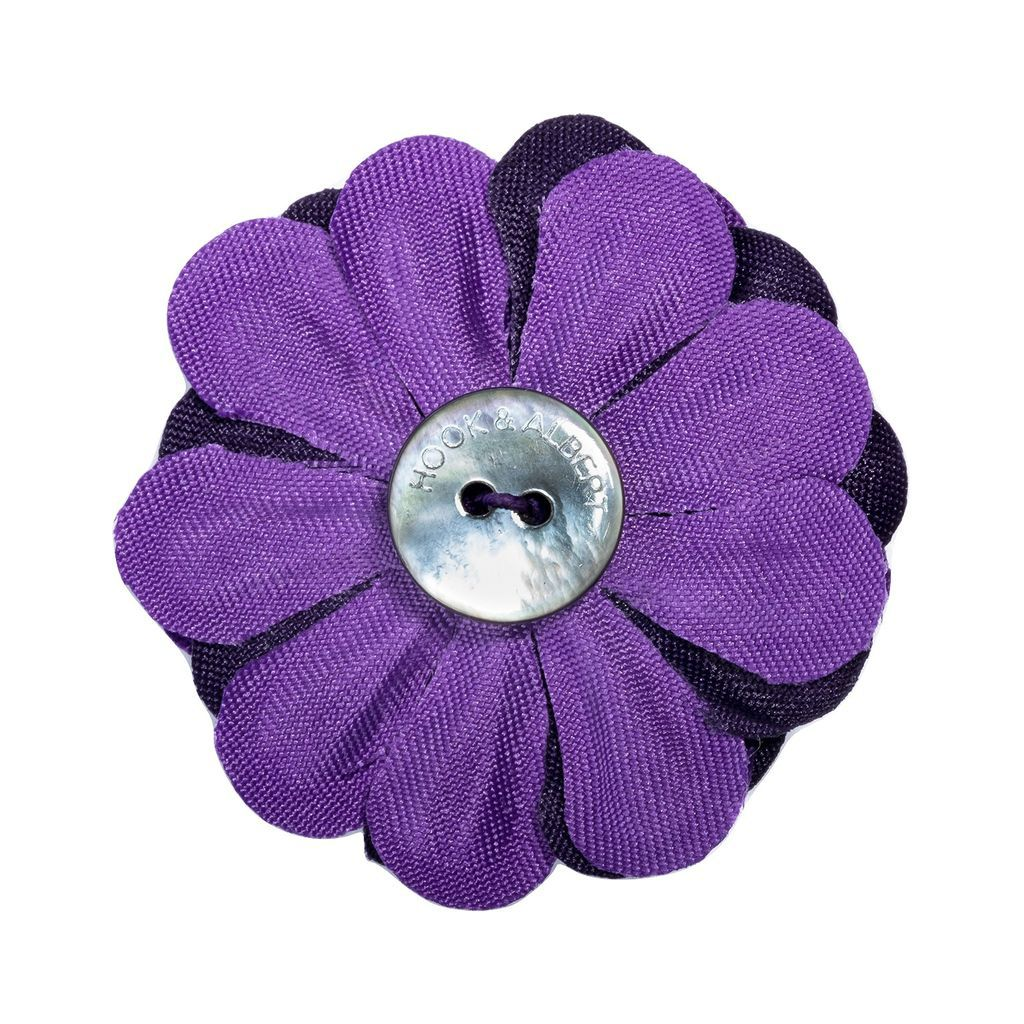 Hook & Albert Large Dahlia Blend Lapel Flower | Purple