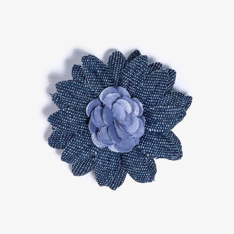 Hook & Albert Two-Tone Lapel Flower Pin | Large Morgan LFDDL18S-BLU-OS