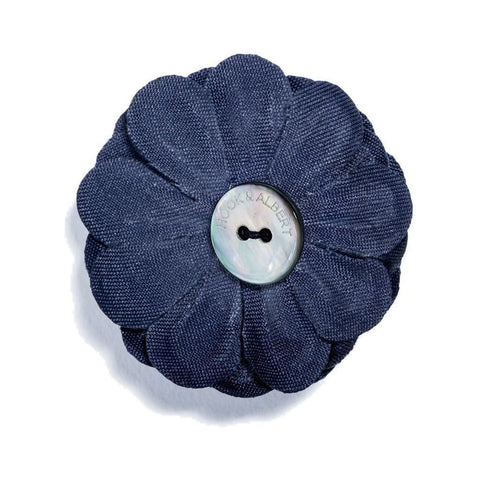 Hook & Albert Large Lapel Flower | Navy LFSDF-NVY-OS