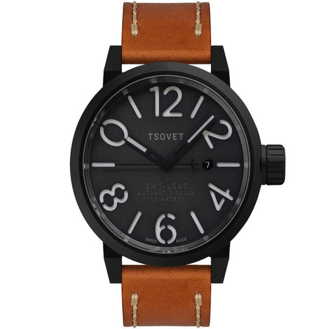 Tsovet SMT-LS47 Black & Grey Automatic Watch | Tan LS331713-45A