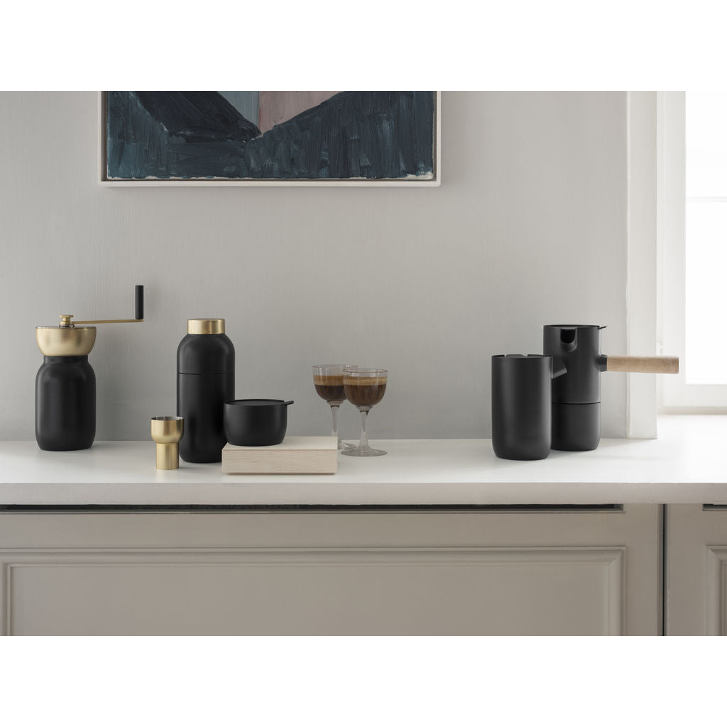 Stelton Collar Steel Cocktail Shaker & Measuring Cup | Black 424