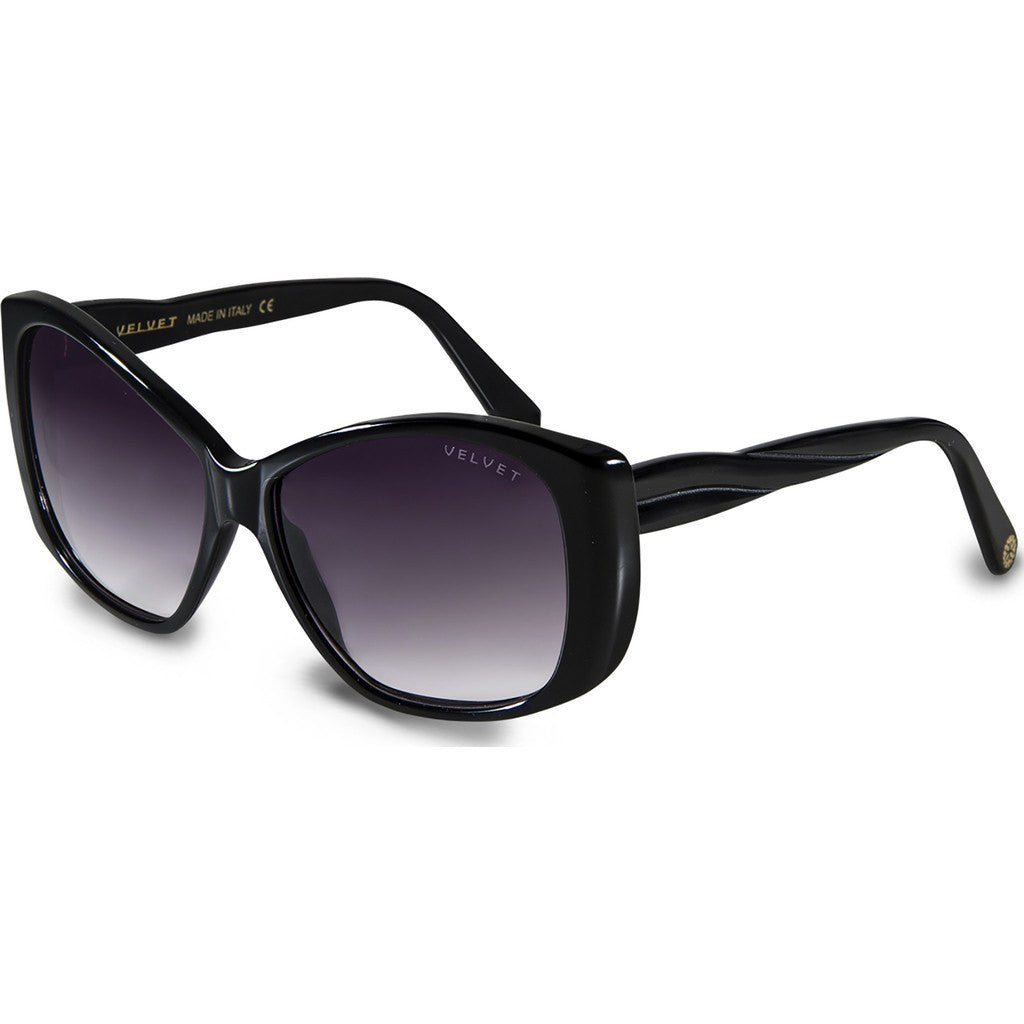 Velvet Eyewear Lucy Black Sunglasses | Grey Fade V012BK05