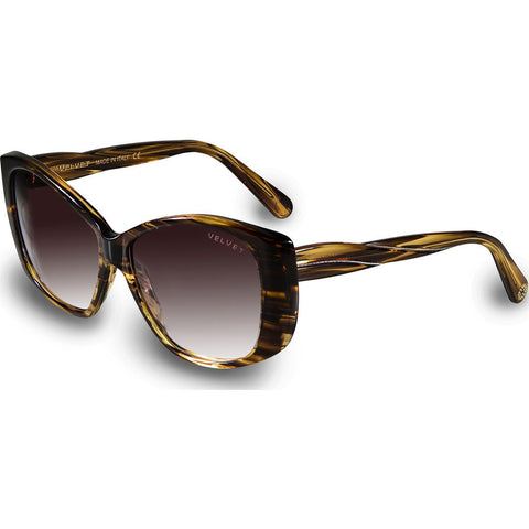 Velvet Eyewear Lucy Sunset Yellow Sunglasses | Brown Fade V012SY01