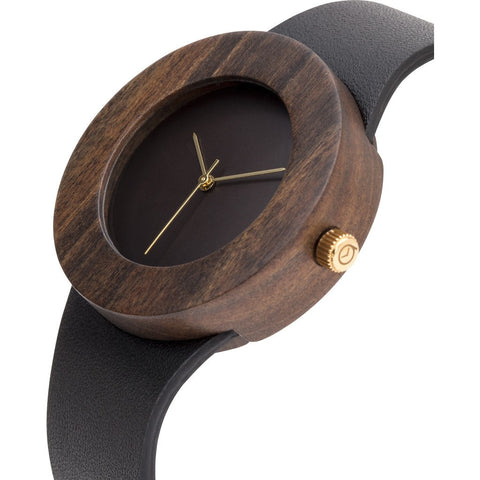 Analog Carpenter Leather & Blackwood Wood Watch | No Markings