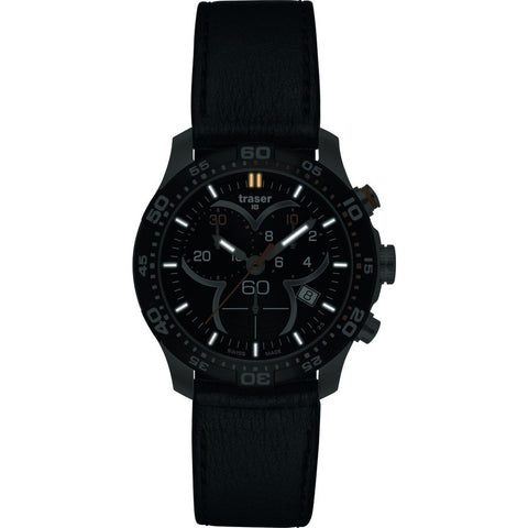 Traser H3 Ladytime Chronograph Black Watch | Leather Strap 100333