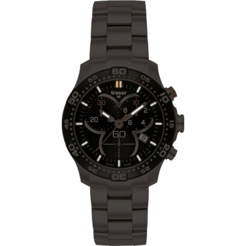 traser H3 Ladytime Black Chronograph Watch | Steel Strap 100298