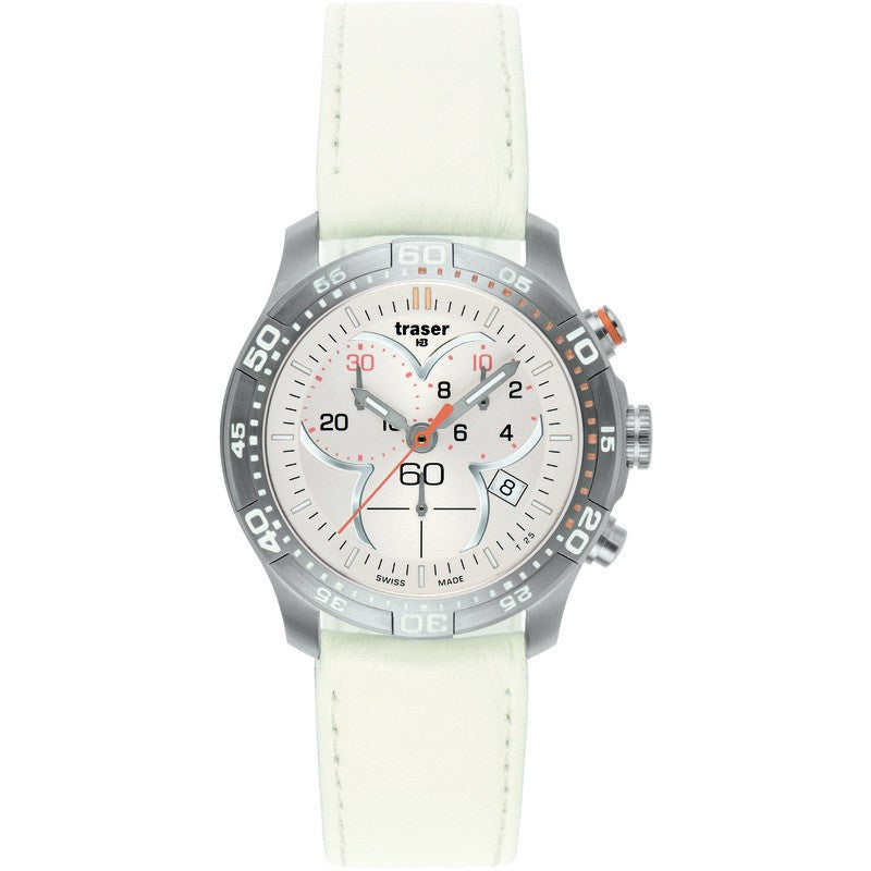 traser H3 Ladyline T7392 Ladytime Chrono Silver Women's Watch | Leather Strap