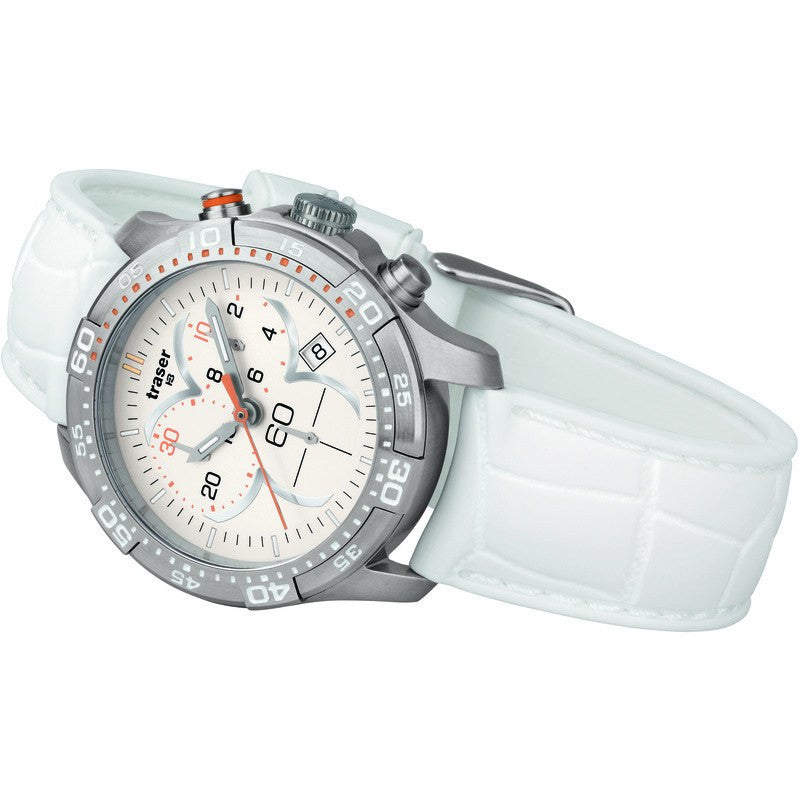 traser H3 Ladyline T7392 Ladytime Chrono Silver Women's Watch | Silicone Strap