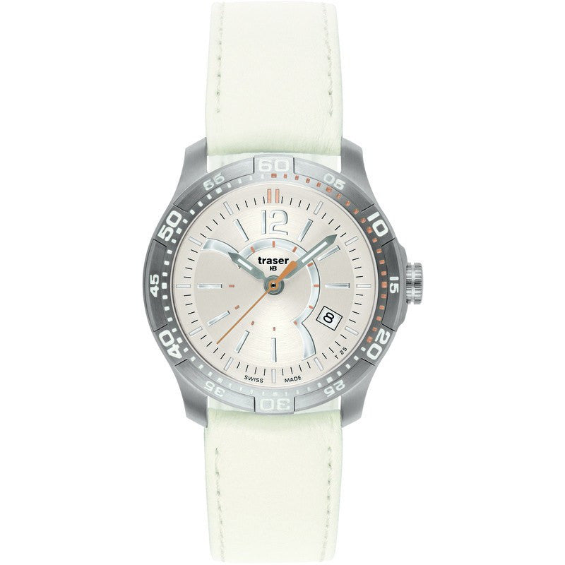 traser H3 Ladyline T7392 Ladytime Silver Women's Watch | Simulated Leather Strap