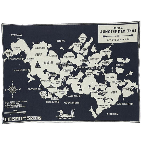 Faribault Lake Minnetonka Map Throw | Wool