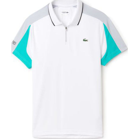 Lacoste Men's Ultra Dry Pique Polo | Blue/Pomelo-White-Na Dh9480_Crt M