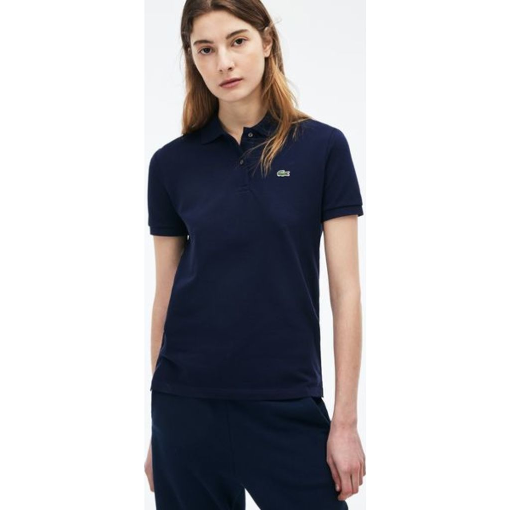 Lacoste Classic Fit Cotton Pique Womens Polo Shirt Navy Blue